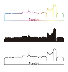 Nantes skyline linear style with rainbow vector image