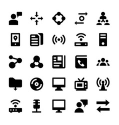 Network and communications line icons 6 vector