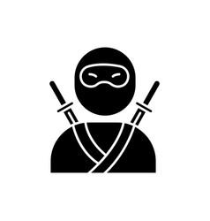 Ninja black glyph icon traditional japanese vector