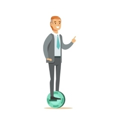 Office Worker In Suit With Tie Riding Electric vector