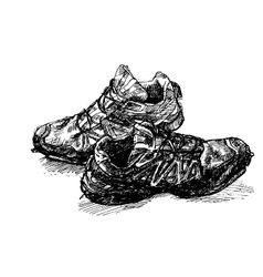 Pair of old running shoe vector image