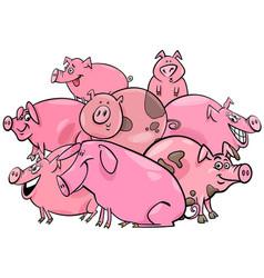 pigs farm animal cartoon characters group vector image