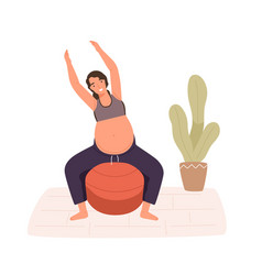 pregnancy woman practicing workout on aerobic ball vector image
