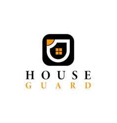 real estate house guard logo design template vector image