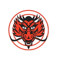 Red Dragon Head Circle vector