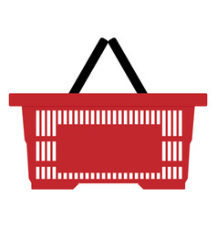 red empty shopping basket isolated on white vector image