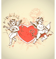 Red heart and cupids vector