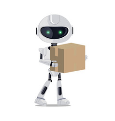 robot standing with parcel vector image