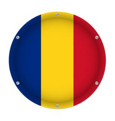 round metallic flag of romania with screws vector image