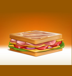 Sandwich with meat cheese and vegetables vector