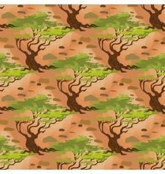 Seamless pattern savanna acacia tree vector
