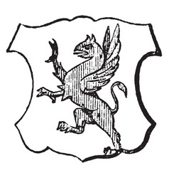 Segreant is a griffin rampant vintage engraving vector