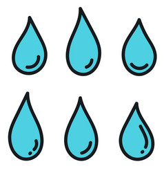 set icons water drops isolated on white vector image