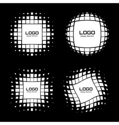 Set of Abstract White Halftone Logo Design Element vector
