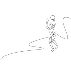 Single continuous line drawing young healthy vector