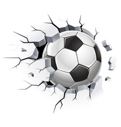 Soccer ball or football and old concrete wall vector