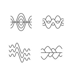 Sound waves linear icons set vibration noise vector