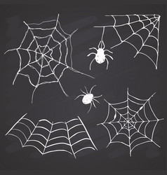 spider web set hand drawn sketched web on vector image