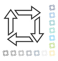 Square recycle icon vector