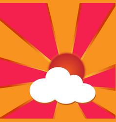 sun has clouds and orange beams vector image