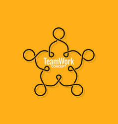 Teamwork logo business line concept on yellow vector