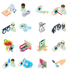 Therapeutic icons set isometric style vector