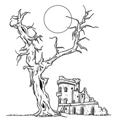 Tree and ruin castle vector