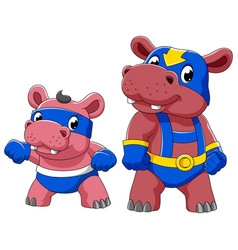 two hippo in a superhero costume vector image