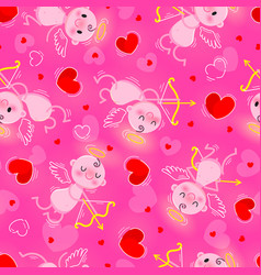 valentines day day seamless texture with lovely vector image