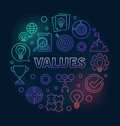 values round concept colored outline vector image