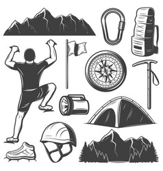 Vintage mountain climbing elements set vector