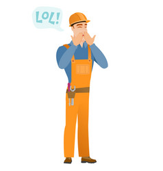 Young caucasian builder laughing out loud vector