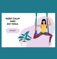 Young girl doing aerial yoga in a hammock landing vector