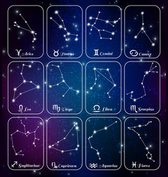 zodiac sign constellations banners vector image