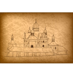 church on the old background vector image vector image