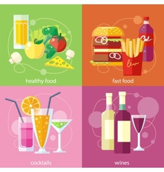 Cocktails health food fast food and vines vector image vector image