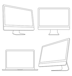 Computer displays and laptop vector image vector image