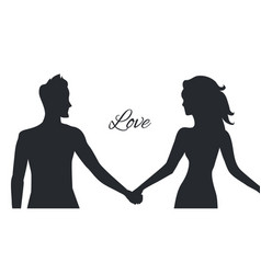 love of man and woman depicted in couple postures vector image