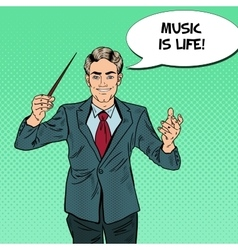 Pop art music conductor man with a baton vector