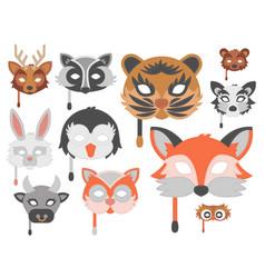 set of cartoon animals party masks holiday vector image