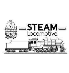 Line drawing steam locomotive vector image