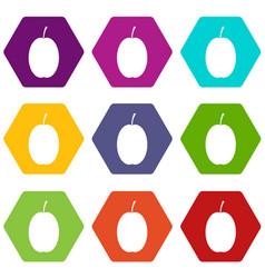 plum icon set color hexahedron vector image