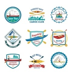 Rafting Canoeing And Kayak Emblems Set vector image