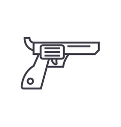 revolverguncowboy line icon sign vector image