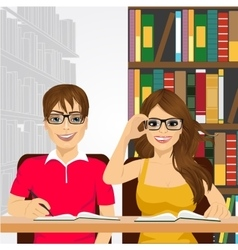 Students in the college library vector