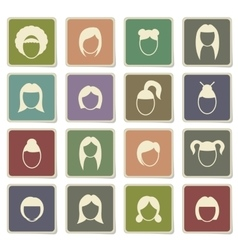 Woman hairstyle simply icons vector image vector image