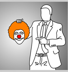 businessman holding smiling joker head vector image vector image