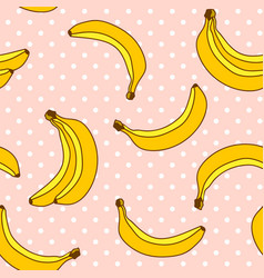 sweet bananas pattern with polka dots background vector image vector image