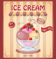 vintage banner with scoop currant ice cream vector image vector image