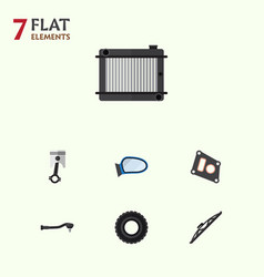 flat auto set of conrod wheel windshield and vector image vector image